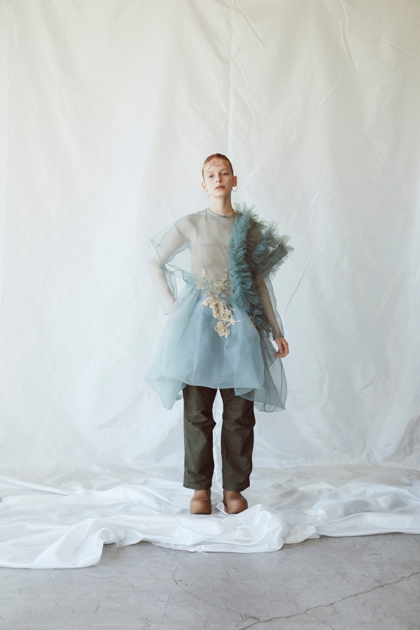 coming soon/Sustainable tulle decorative french sleeve p/o (Sage green)